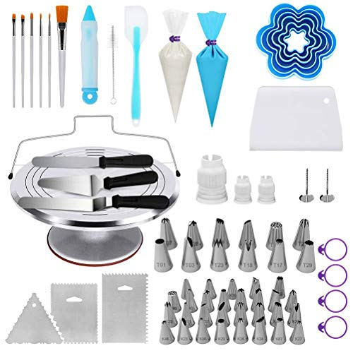 Metal Turntable Cake Decorating Set 177 PCS CAKE DECORATING KIT With 42 Numbered Icing Tips, Aluminum Stainless Steel Rotating Cake Stand and More,177pieces -