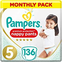 Pampers Premium Protection Nappy Pants Size 5, 136 Nappy Pants, 12-17 kg, Monthly Saving Pack, Gentlest Touch On Skin In Easy-On Nappy Pants