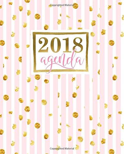 Agenda: 2018 Agenda semainier : 19x23cm : Bandes roses avec points dorés par Papeterie Bleu