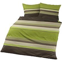 Bierbaum 4630_13 - Juego de funda nórdica, 200 x 200 cm, franela, diseño a rayas, color verde y gris