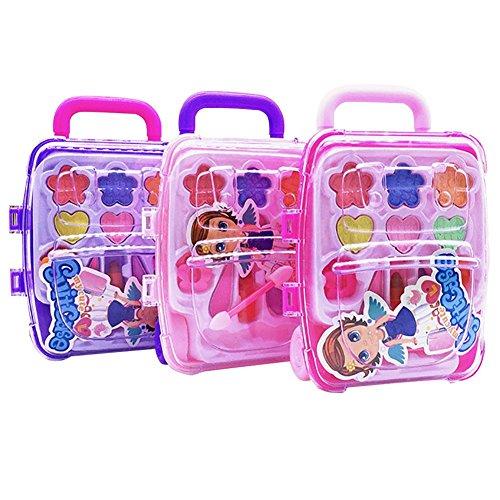 Starter Kinderkosmetik - Prinzessin Make-up Box Trolley Case Form Kinder Make-up Spielzeug Set Safe Ungiftig Mädchen Spielzeug Geburtstag Vorgeben Make-up Vanity Set Rosa Vanity Case