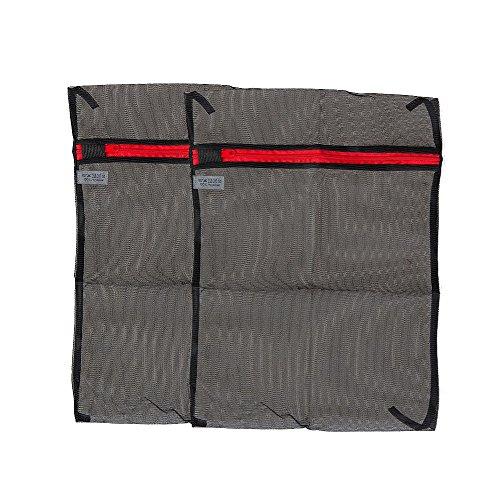 Ziatec feinporiges Wäschenetz mit Reißverschluss, Waschnetz, Wäschebeutel, Waschbeutel, Wäsche-Netze (2 x schwarz, 28 x 40 cm)
