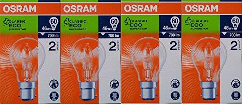 4 x OSRAM GLS 46W =60W BC B22 Classic ECO Superstar Energy Saving Halogen Light Bulbs, Dimmable Lamps, Bayonet Cap, 240V