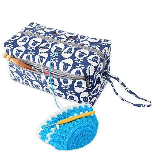 Luxja borsa maglia, borsa filati, borsa uncinetto per matasse di filati, porta uncinetti, ferri maglia (fino a 10 pollici) e altri piccoli accessory