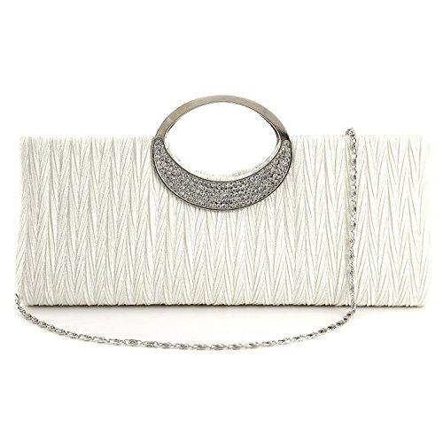 TOOGOO(R) Sac a main pochette soiree femme diament neuf elegant en satin blanc