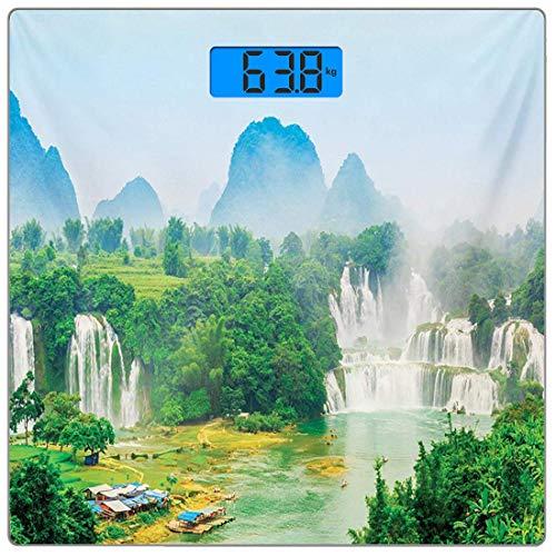 �rpergewicht Waage Natur Ultra Slim gehärtetes Glas Personenwaage Genaue Gewichtsmessungen, Wasserfall festhalten Guangxi Misty Jungle Forest Wasserlandschaft Szene Bild, Red Tan Hu ()
