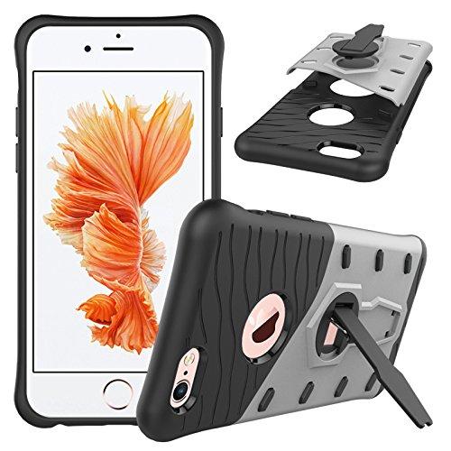 Coque Apple iPhone 6S, SsHhUu Dure Heavy Duty Réduction de Vibration Couverture Double Couche Armure Combo avec Pivotant Kickstand Protecteur Étui Case pour Apple iPhone 6 / 6S 4.7 Pouce Bleu Gris