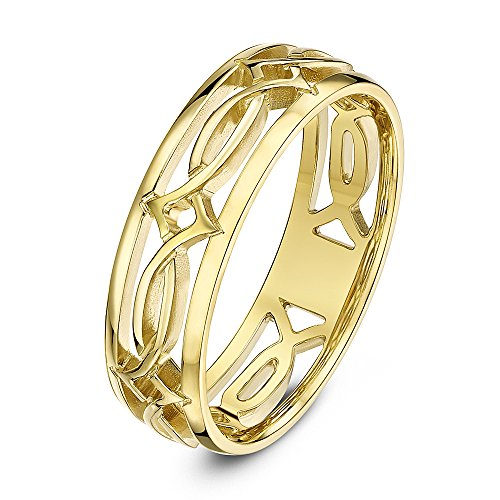 Theia Bague Or Jaune 9ct Motif Celtique Troué 6mm - Taille 59