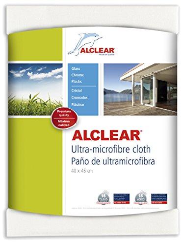 ALCLEAR 950002 Gamuza para ventanas de microfibra - para limpiar el coche, el hogar, ventanas y cromados, 60x45 cm, blanco