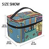 Tizorax collezione di adesivi vintage viaggio valigie con grande trousse da viaggio trucco organizzatore di supporto per donne e ragazze