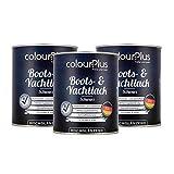 colourPlus® 1K Bootslack & Yachtlack (3x750ml, schwarz) Bootslack Holz - Schiffslack - Bootslacke - Boot Lack -...