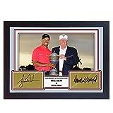 SGH SERVICES Poster Tiger Wood President Donald Trump signiertes Autogramm Foto Vordruck Legend Golf Poster Vordruck Fotodruck Gerahmter MDF-Rahmen Golf Memorabilia