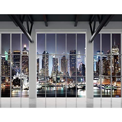Fototapete Fenster nach New York 396 x 280 cm Vlies Wand Tapete Wohnzimmer Schlafzimmer Büro Flur Dekoration Wandbilder XXL Moderne Wanddeko - 100{b1746850d427c1ba35c13d9c38b1a9f7157d5f134f58f7a75e960f2059010179} MADE IN GERMANY - NY Stadt Runa Tapeten 9187012b