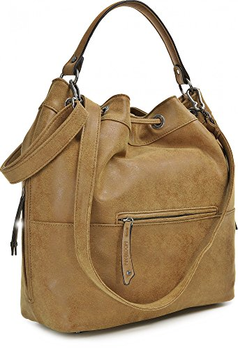MIYA BLOOM, Damen Handtaschen, Shopper, Schultertaschen, Umhängetaschen, Beuteltasche, Hobo Bucket Bag, 37 x 31 x 17,5 cm (B x H x T), Farbe:Anthrazit Cognac