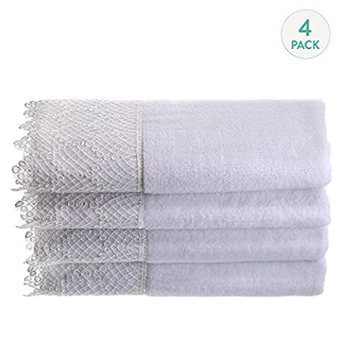 Creative Scents Fingertip Towels (11x18 inches)– Towel Set of 4- Extra Absorbent 100% Cotton- Soft Velour Finish- Gorgeous Lace Trim- Machine Washable- Perfect for Kitchen or Guest Bathroom! -