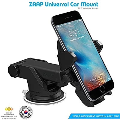 ZAAP Quick Touch One Adjustable Car Windshield/Dashboard/Working Desk Mount for Phones upto 2.3 - 3.2 inches, 3rd Generation (Black)