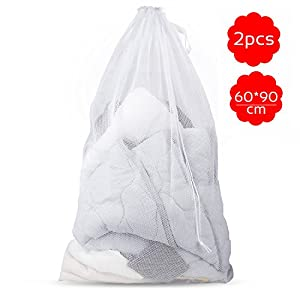 Samione Wäschesack, Wäschenetz mit Zugkordel Wäschebeutel für Dessous, Hemden, Socken und Baby Kleidung Netzbeutel Wäschenetz für Waschmaschine - 2 Stück (weiß)