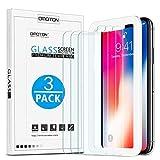 OMOTON [3 Pièces] iPhone XS/X Protection Ecran Verre Trempé Protecteur avec Kit d'installation Offert, Film Protection iPhone XS/X[sans Bulles, Faciles Installation]