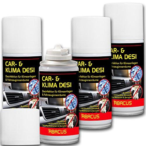 ABACUS CAR- & Klima DESI 4X 200 ml (7302) - Klimareiniger Klimaanlagenreiniger Klimadesinfektion Klimaanlagendesinfektion Klima Anlagen Reiniger Desinfektion - Air Conditioner Cleaner AC-Cleaner -