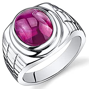 Revoni Mens 8.00 Carats Oval Cabochon Ruby Ring In Sterling Silver With Rhodium Finish Size P,