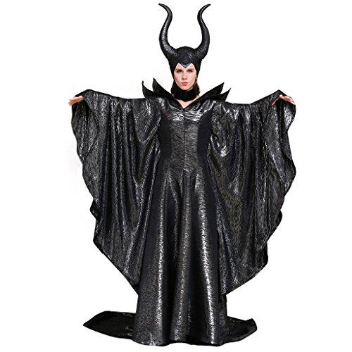 CosplayDiy Damen Kostüm von Maleficent Angelina Jolie dunkel Hexe Queen Kleid - Schwarz - Large (Angelina Jolie Maleficent' Kostüm)