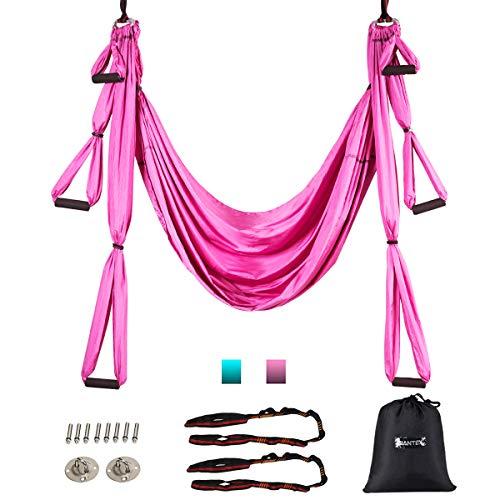 COSTWAY Aerial Yoga Hängematte, Yoga Schaukel, Air Fliegen Hängematte Set, Yogatuch mit Montagezubehör (Rosa)