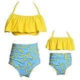 73bb8e686ec7 Qunlei Completo Bikini per Mamma e Figlia Costume da Bagno Due Pezzi a Vita  Alta