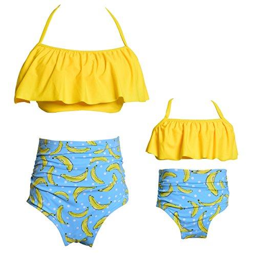 Qunlei Mutter und Tochter Badeanzug Zwei Stücke Retro Boho Volant Falbala hoch bauchweg Strand Tankini Set für Damen und Mädchen-Gelb -L