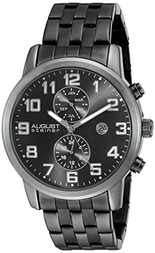 August Steiner Reloj con movimiento cuarzo suizo Man AS8175BK Negro 44 mm