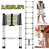 Scala pieghevole, telescopica, in alluminio, allungabile, di CDC® allungabile, per casa, pioli con massima estensione., 2,6 m