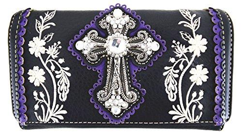 Blancho Biancheria da letto delle donne [Fiore] PU borsetta di pelle Moda Elegante Borsa Viola Wallet-Viola