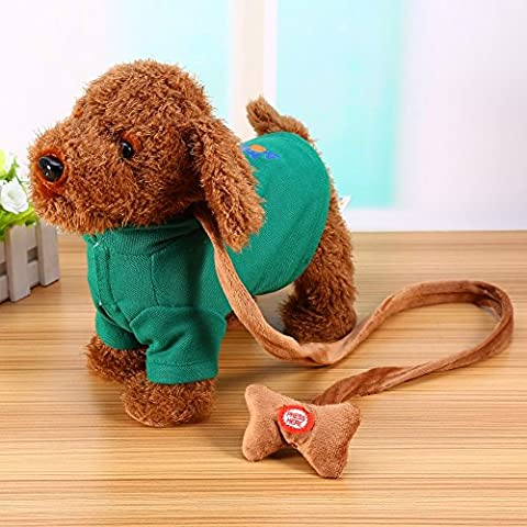 Electronic Pet Dog Jouets mignons en peluche Chanter Walking Musical Chiots Pet Soft Toys Pour Bébé Enfants ( Color : Vert )