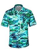 APTRO Herren Hemd Hawaiihemd Freizeit Hemd Kurzarm Urlaub Hemd Reise Shirt HW010 M
