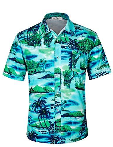 APTRO Herren Hemd Hawaiihemd Freizeit Hemd Kurzarm Urlaub Hemd Reise Shirt HW010 XXXL