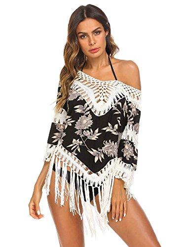Bademode Lose (Damen sommer Strandkleid bikini cover up baumwolle V-ausschnitt Lose Oberteile Cover up hemdkleid weich frauen bade shirt top sexy)
