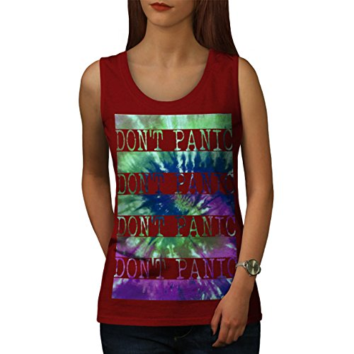 Nein Panik Cool Seltsam Komisch Stress Rave Damen S-2XL Muskelshirt    Wellcoda Rot