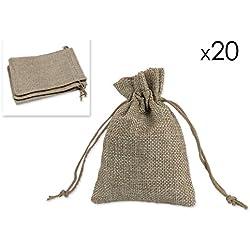 DSstyles 20 Piezas Bolsas de Regalo Bolsas de Arpillera Saco de Joyas para Fiesta de Boda y Artesanía de DIY, 9 x 12cm