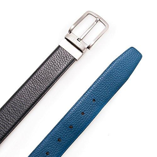 Authentique ceinture faite avec peau de vachette. Réversible. Mesures: 100-110 -120 cm. Couleur bleu noir. bleu noir