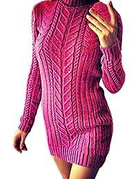 Qmber Kleider Damen Pullover Kleid Bluse Elegant Lose Langarm Einfaches Beiläufiges Strickkleid Viskose Jersey Stretch Skaterkleid, Herbst Winter Warmes festes Rollkragen Minikleid
