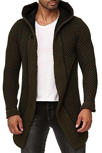 Lagos Herren Strick-Jacke lang warm (1948LG Khaki, M) Herren Schwarz Wolle Mantel