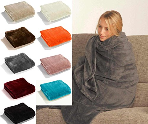 Fashion&Joy - Super Soft Flanell Wohndecke in XL oder XXL - PREMIUM Microfaser Decke in Top Qualität - fusselfrei - Ökotex - Kuscheldecke in vielen Trendfarben - Sofadecke 150x200 braun Typ380