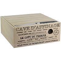 Totally Addict KA2361 Cave à Fromage en Bois avec Couteau Marron, 25 x 25 x 10 cm