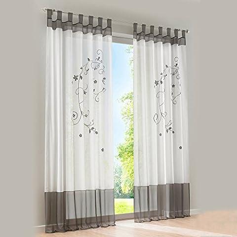 1er-Pack Gardine Schlaufen Gardinen mit Blumen Bestickt Transparent Voile Vorhang (BxH 140x225cm,