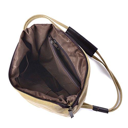 FZHLY Versione Coreana Canvas Shoulder Bag Pacchetto Di Grandi Dimensioni Casuale,Brown Gray