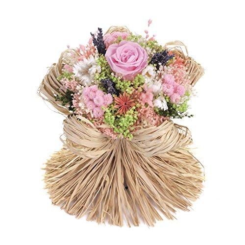 Bouquet raffia (rosa) sanremo fiori essiccati dalla riviera dei fiori con rosa stabilizzata ...