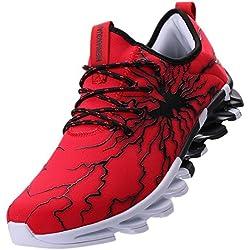 BLOOMNEXT Zapatos Para Correr EN Montaña y Asfalto Aire Libre y Deportes Zapatillas de Running Padel Para Hombre Negro Rojo 43