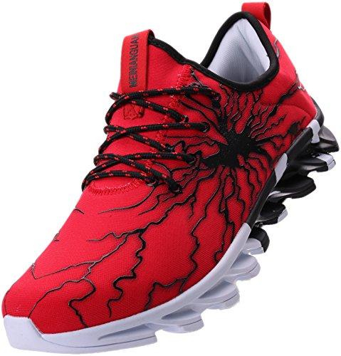 Sport Schuhe Männer Für (BLOOMNEXT Herren Sportschuhe Schnürschuhe Atmungsaktiv Moderne Freizeit Sneaker Schuhe Outdoor Laufschuhe Low-Top Bequeme Turnschuhe Gymnastikschuhe Männer Jungen Rot Schwarz 44 EU (45 Asien))