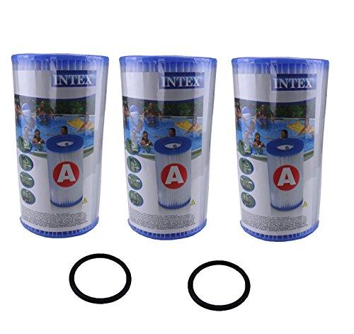 Ersatzteile für Intex Kartuschen Filteranlage, 2 x O-Ringe und 3 Filter A