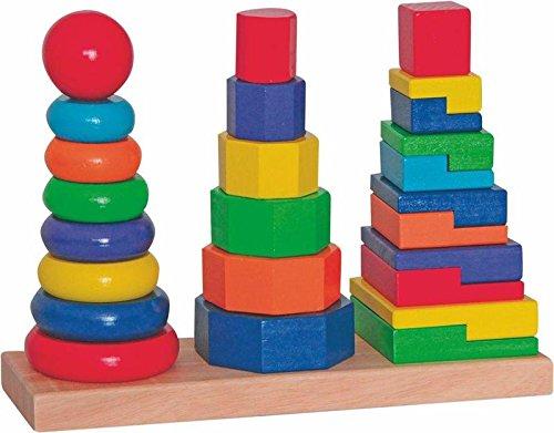 Woodyland TAPÓN DE Torre Bloques Steckspiel Stapelturm Madera Juego de clasificación Pila Colorido Juego