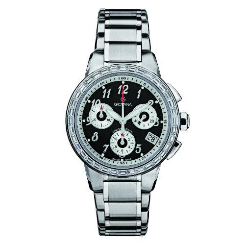 Grovana 5094,9737 - Reloj cronógrafo de cuarzo unisex, correa de acero inoxidable chapado color plateado